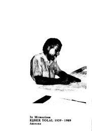 In Memoriam EŞBER YOLAL 1939 -1989 Anısına - Journal of the ...