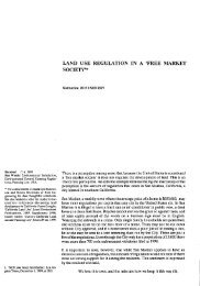 LAND USE REGULATION IN A 'FREE MARKET SOCIETY'*