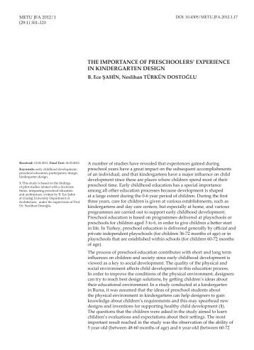 The importance of preschoolers' experience in - Journal of the ...