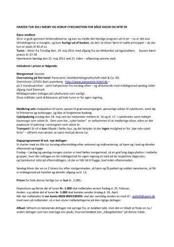 HARZEN TUR 2011 NÆSBY OG KORUP CYKELMOTION FOR ...