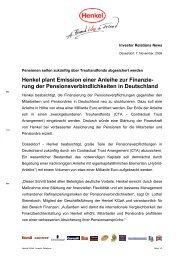 rung der Pensionsverbindlichkeiten in Deutschland - Henkel