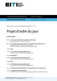 Projet d'ordre du jour - EITI