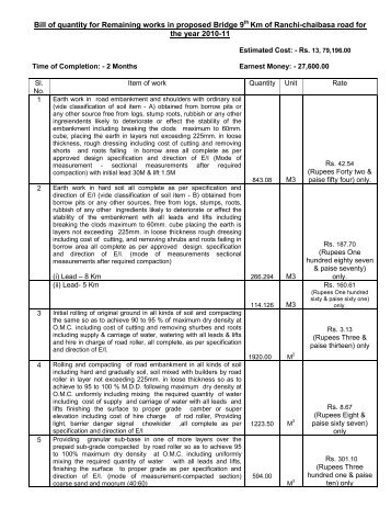 Bill of quantity for the construction of high level bridge over bill of quantity for special repair of hazaribagh road for the year thecheapjerseys Images