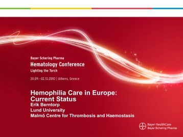 "Presentation ""Hemophilia Care in Europe: Current Status"" - Press"