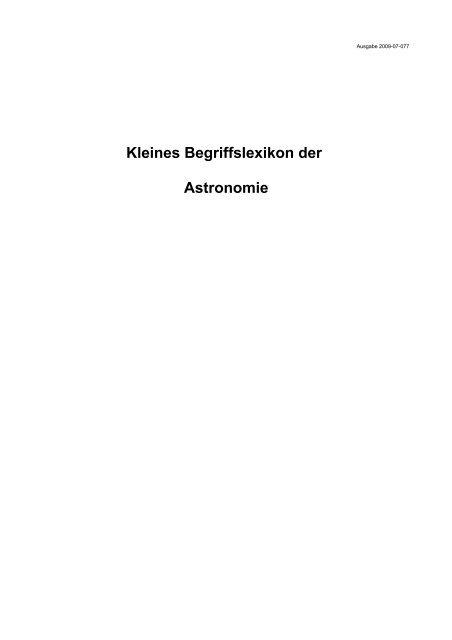 Kleines Astronomielexikon - Aklimex.de