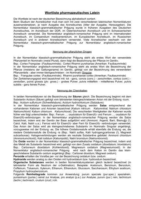 Wortliste pharmazeutisches Latein - Aklimex.de