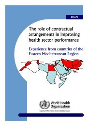 The role of contractual arrangements in improving health sector ...