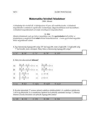 2006-os matematika felvételi feladatsor