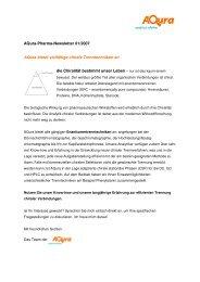 01/2007: Aqura bietet vielfältige chirale Trenntechniken an