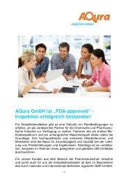 """""""FDA-approved"""" - Inspektion erfolgreich bestanden! - AQura GmbH"""