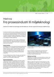 Fra prosessindustri til miljøteknologi - Innovasjon Norge