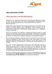 02/2005: Aqura expandiert in der HPLC-MS