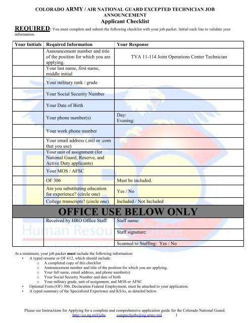 OFFICE USE BELOW ONLY - Colorado National Guard