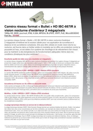 Caméra réseau format « Bullet » HD IBC-667IR à vision nocturne d ...