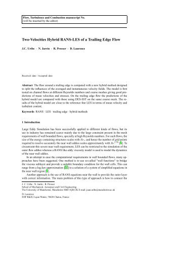 Two-Velocities Hybrid RANS-LES of a Trailing Edge Flow