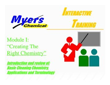 Principles of Cleaning - Myers Supply & Chemical