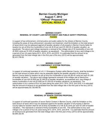 "Berrien County Michigan August 7, 2012 ""Official"" Proposal List ..."