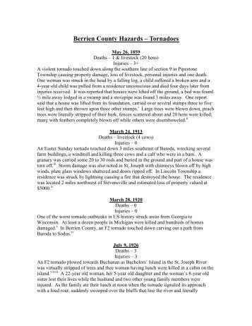 Historical Disasters - Berrien County