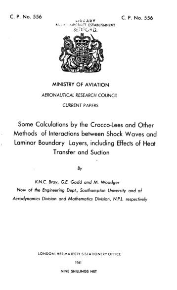 Some Calculations by the Crocco-Lees and Other Methods ... - aerade
