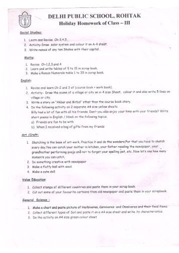 Dps bikaner holiday homework