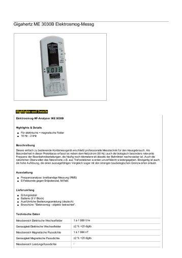 61004 Gigahertz ME 3030B Elektrosmog-Messg - H. Lohmann Schiffs