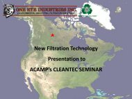 New Filtration Technology Presentation to ACAMP's CLEANTEC ...