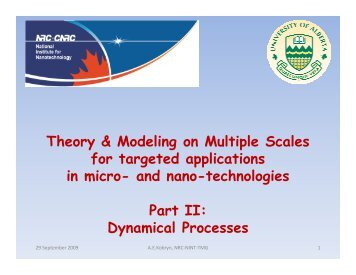 Theory & Modeling on Multiple Scales for targeted ... - Acamp