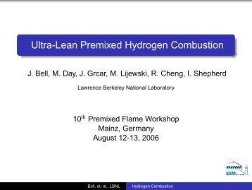 Ultra-Lean Premixed Hydrogen Combustion - Lawrence Berkeley ...