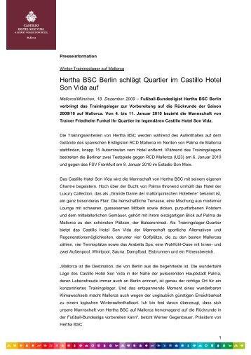 Hertha BSC Berlin schlägt Quartier im Castillo Hotel ... - Arabella Golf