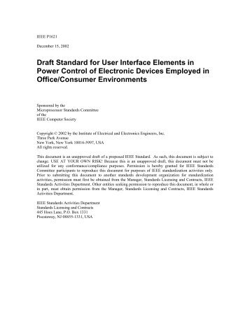 Draft Standard for User Interface Elements in Power Control of ...