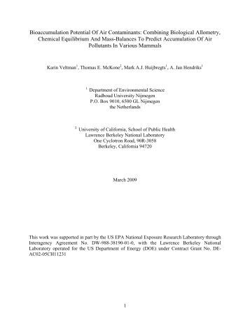 Combining Biological Allometry, Chemical Equilibrium And ... - OSTI