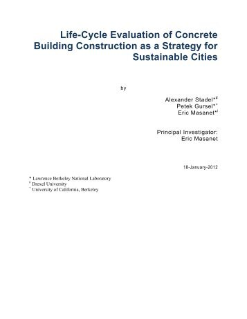 Life-Cycle Evaluation of Concrete Building Construction as a ...