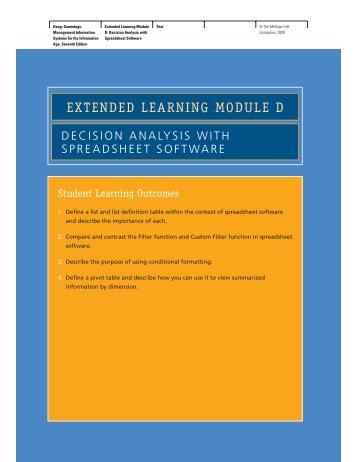 EXTENDED LEARNING MODULE D - McGraw-Hill Learning Solutions