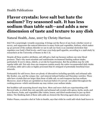 Flavor crystals: love salt but hate the sodium? Try ... - Ideas in Food