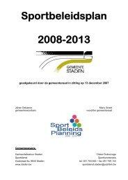 Sportbeleidsplan 2008-2013 - Gemeente Staden