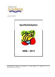 Sportbeleidsplan 2008 – 2013