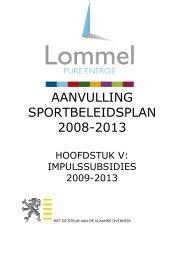 AANVULLING SPORTBELEIDSPLAN 2008-2013