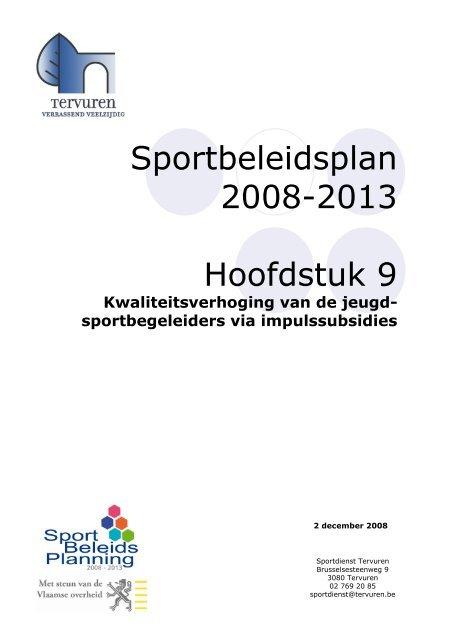 Sportbeleidsplan 2008-2013 Hoofdstuk 9