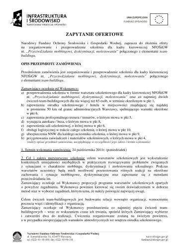 zapytanie ofertowe - Narodowy Fundusz Ochrony Środowiska i ...
