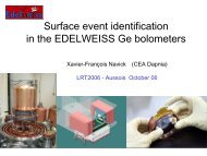 Surface event identification in the Edelweiss Ge bolometers - LRT2006