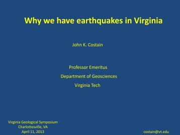 Why we have earthquakes in Virginia - Virginia Tech Geothermal Data