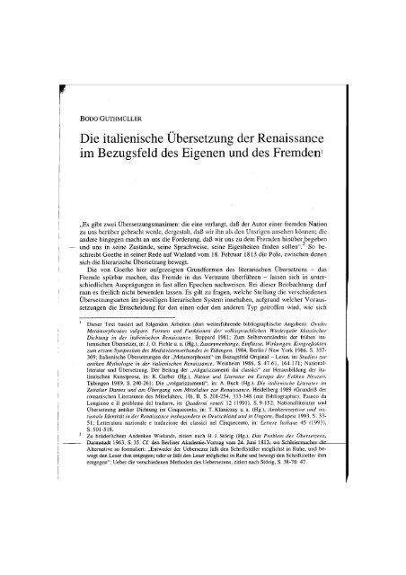 Die italienische Ubersetzung der Renaissance im Bezugsfeld des ...