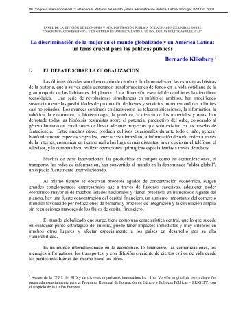 La discriminación de la mujer en el mundo globalizado y en ...