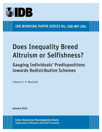Does Inequality Breed Altruism or Selfishness? Gauging Individuals ...