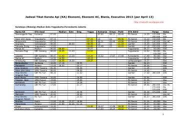Jadwal Tiket Kereta Api Ekonomi Full April 13