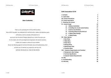 Dear Customer, Drift Innovation X170 - Cámaras Drift Innovation