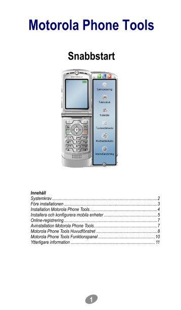 Motorola Phone Tools Snabbstart