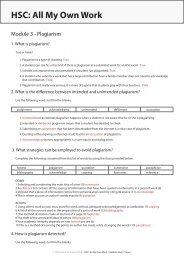 Module 3 Plagiarism - HSC : All My Own Work
