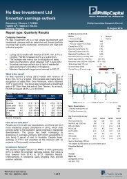 Ho Bee Investment Ltd - Phillip Securities Pte Ltd
