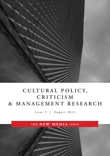 Cultural Policy, Criticism and Management Research